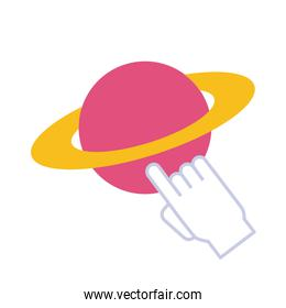 saturn planet with mouse cursor flat style