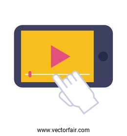 smartphone with media player flat style icon