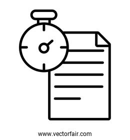 paper document with chronometer line style icon