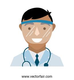 doctor with stethoscope and face glass protection flat style