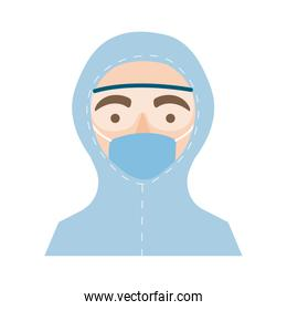doctor with biosafety suit character flat style icon