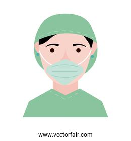 surgeon with face mask character flat style icon