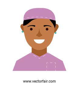 afro female surgeon character flat style icon