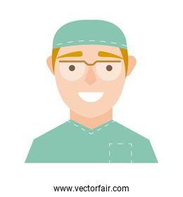 surgeon with glasses character flat style icon