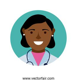 afro female doctor with stethoscope block and flat style