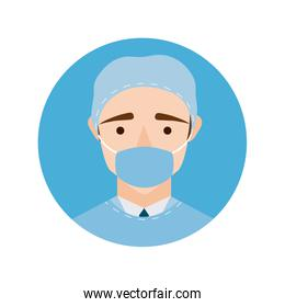 surgeon with face mask character block and flat style icon