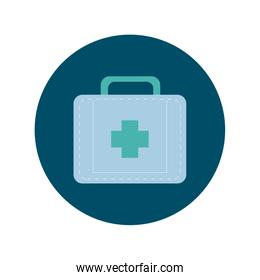 medical kit block and flat style icon