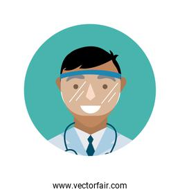doctor with stethoscope and face glass protection block and flat style