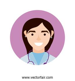 female doctor with stethoscope character block and flat style