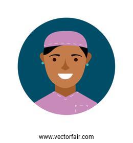 afro female surgeon character block and flat style icon