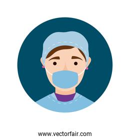female surgeon with face mask block and flat style icon