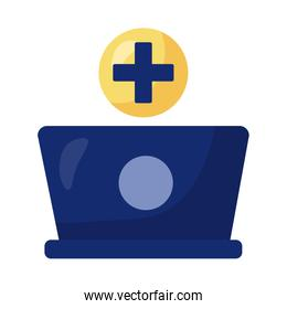 laptop with medical symbol health online detaild style
