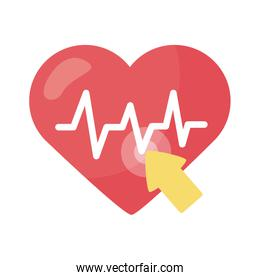cursor mouse with heart cardio health online detaild style