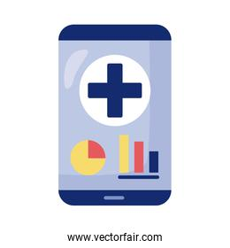 smartphone with medical cross health online detaild style