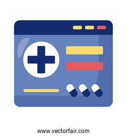 webpage with medical cross health online detaild style