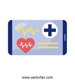 smartphone with heart cardio health online detaild style
