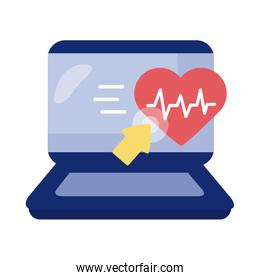 laptop with heart cardio health online detaild style