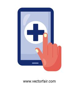 smartphone with medical cross health online isolated icon