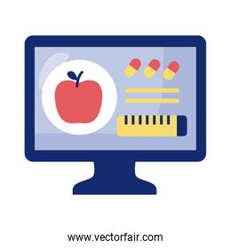 desktop with apple and tape measure health online detaild style