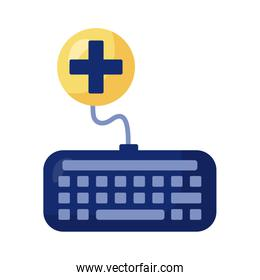 keyboard with medical symbol health online detaild style