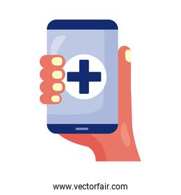 hand with smartphone and medical cross health online detaild style