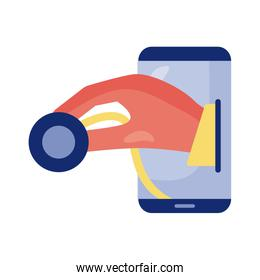 smartphone with stethoscope health online detaild style