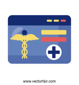 webpage with medical symbol health online detaild style