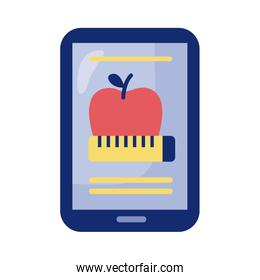 smartphone with apple and tape measure health online detaild style