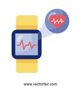 isolated smartwatch with heart cardio health online detaild style