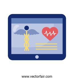 tablet with medical symbol health online detaild style