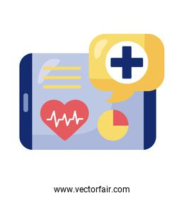 tablet with heart cardio health online detaild style