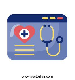 webpage with stethoscope health online detaild style