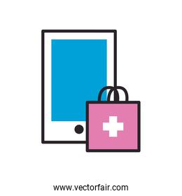 Smartphone with medical bag fill style icon vector design