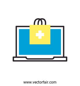 Laptop and bag with cross fill style icon vector design