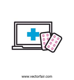 Pills tablets and laptop with cross fill style icon vector design