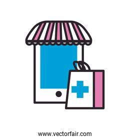 Smartphone with tent and medical bag fill style icon vector design