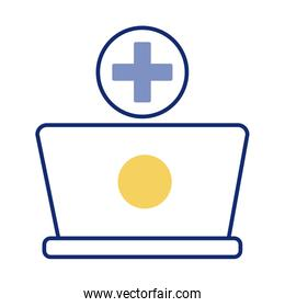 laptop with medical symbol health online line style