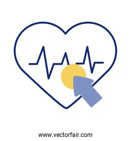 cursor mouse with heart cardio health online line style