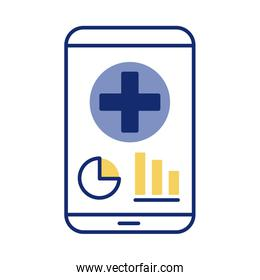 smartphone with medical cross health online line style over white
