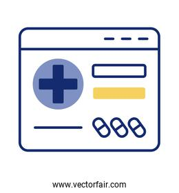 webpage with medical cross health online line style