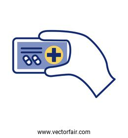 hand with smartphone and medical cross health online line style