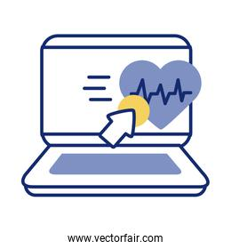 laptop with heart cardio health online line style