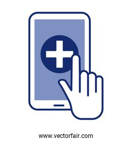 smartphone with medical cross health online line style