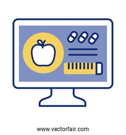 desktop with apple and tape measure health online line style
