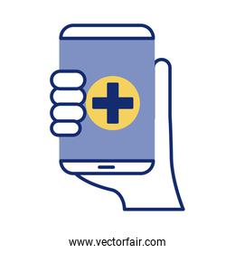 hand with smartphone and medical cross health online line style over white