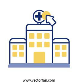 cursor mouse with hospital building health online line style