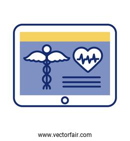 tablet with medical symbol health online line style
