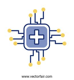 medical cross symbol in processor computer line style