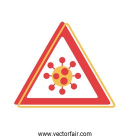 covid 19 particle caution signal flat style icon
