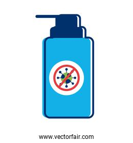 soap bottle with push cap covid 19 particle flat style icon